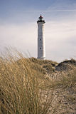 Faro di Lyngvig nel paesaggio costiero della Danimarca Fotografie Stock