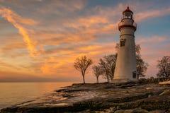 Faro di Marblehead nell'Ohio all'alba Immagini Stock Libere da Diritti