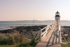 Faro di Marshall Point Fotografia Stock