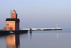 Faro di Michigan di lago all'indicatore luminoso di mattina Immagini Stock Libere da Diritti