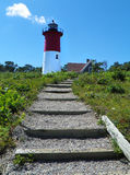 Faro di Nauset su Cape Cod Massachusetts Fotografia Stock