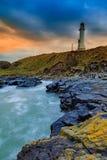 Faro di Ness della cintura durante l'alba a Aberdeen fotografia stock libera da diritti