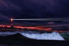Faro di notte Fotografia Stock Libera da Diritti