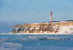 Faro di Pakri nell'inverno Fotografia Stock Libera da Diritti