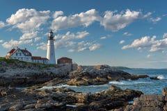 Faro di Portland in capo Elizabeth, Maine, U.S.A. fotografie stock libere da diritti