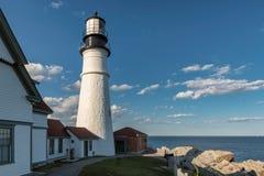 Faro di Portland in capo Elizabeth, Maine, U.S.A. fotografia stock libera da diritti