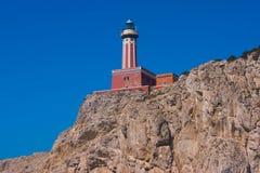 Faro Di Punta Carena latarnia morska w Capri Fotografia Royalty Free