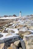 Faro di Scituate in riva del sud di Boston Fotografie Stock Libere da Diritti