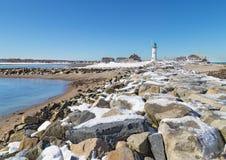 Faro di Scituate in riva del sud di Boston Immagini Stock Libere da Diritti