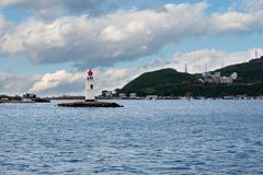 Faro di Tokarevskiy un punto di riferimento in Vladivostok, Russia fotografia stock