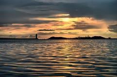 Faro di tramonto Fotografie Stock Libere da Diritti