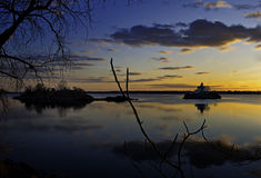Faro di tramonto di RI Immagini Stock