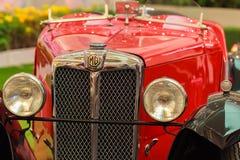 Faro di un'automobile d'annata rossa, MG D Type, 1928 Fotografia Stock