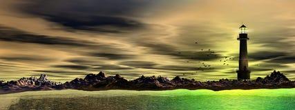Faro e mare, panoramici royalty illustrazione gratis
