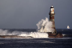Faro e pilastro di Roker Fotografia Stock Libera da Diritti