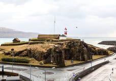 Faro e strada di Torshavn fotografia stock
