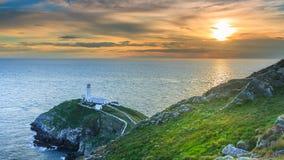Faro e tramonto Fotografia Stock Libera da Diritti