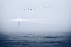 Faro ed uccelli nel cielo fotografia stock libera da diritti