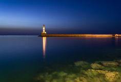Faro en Chania, Creta, Grecia Foto de archivo libre de regalías