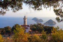 Faro en el cabo de Gelidonya en tiempo del día en Adrasan Antalya Turquía Foto de archivo