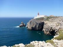 Faro en el cabo St Vincent en Portugal Imagen de archivo