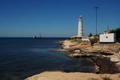 Faro en el cabo Tarhankut Imagen de archivo
