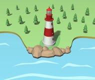 Faro en el ejemplo de la costa 3d Imagen de archivo