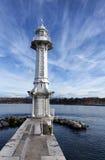 Faro en el lago Lemán, Suiza Imagen de archivo libre de regalías