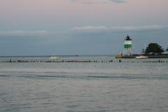 Faro en el lago Michigan 3 Foto de archivo