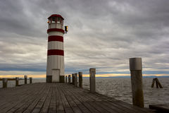 Faro en el lago Neusiedl Imagen de archivo libre de regalías