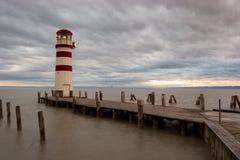 Faro en el lago Neusiedl Foto de archivo libre de regalías