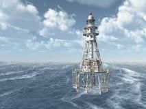 Faro en el océano tempestuoso Imagenes de archivo