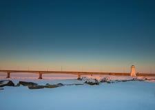 Faro en el puente de la confederación Fotografía de archivo