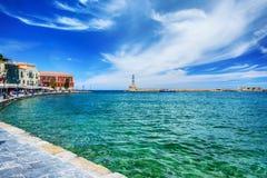 Faro en el puerto de Chania, Creta Fotos de archivo libres de regalías