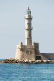 Faro en el puerto de Chania, Crete, Grecia Fotografía de archivo libre de regalías