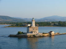 Faro en el puerto de Olbia Imagen de archivo