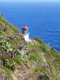 Faro en el punto de Makapuu, Oahu, Hawaii imagen de archivo libre de regalías