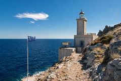 Faro en Grecia Foto de archivo libre de regalías