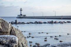 Faro en invierno Fotos de archivo