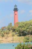Faro en Jupiter Inlet en Júpiter, la Florida Foto de archivo libre de regalías