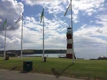 Faro en la ciudad del océano de Plymouth Imagen de archivo