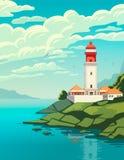 Faro en la costa del mar, estructura del faro en orilla ilustración del vector