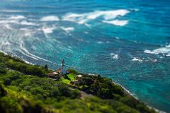 Faro en la isla de Oahu foto de archivo