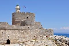 Faro en la isla de Rodas Fotos de archivo libres de regalías