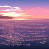 Faro en la puesta del sol libre illustration