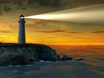 Faro en la puesta del sol stock de ilustración
