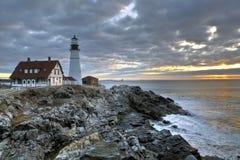 Faro en Maine Imágenes de archivo libres de regalías