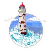 Faro en ondas en el mar azul, vector Foto de archivo libre de regalías