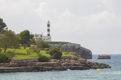 Faro en Portocolom, Majorca Imágenes de archivo libres de regalías