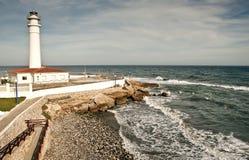 Faro en Torrox, Málaga, España. Imagen de archivo libre de regalías